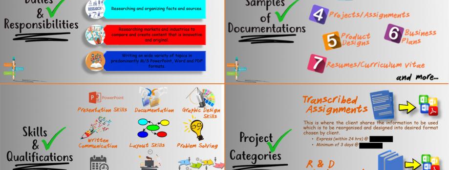 Creative Writer & Powerpoint Presentation specialist.